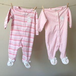 0-3 month baby girl animal footie pajamas